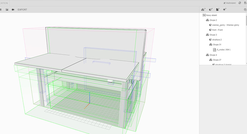 Variantic - internetowy konfigurator produktów - biurko projekt 2
