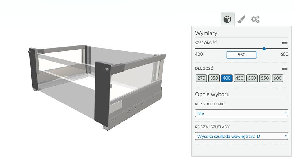 Variantic - internetowy konfigurator produktów - szuflada 2