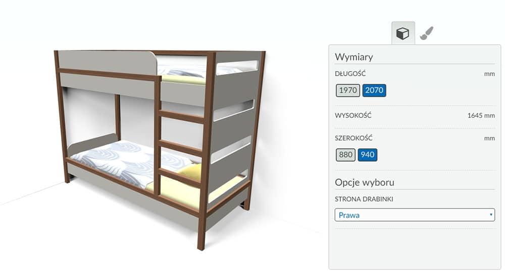 Variantic - internetowy konfigurator produktów - łóżko piętrowe