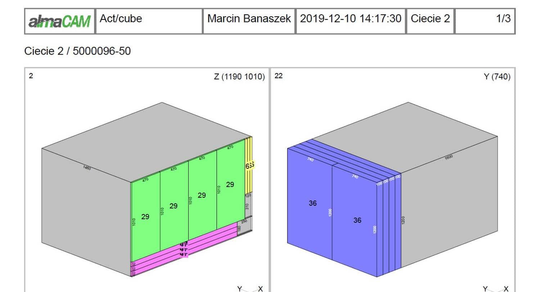 almaCube - optymalizacja cięcia - kolejność cięcia
