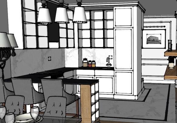 Wizualizacja projektowanej kuchni w TopSolid Wood