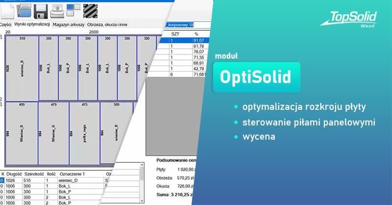 Moduł OptiSolid dla TopSolid Wood - optymalizacja rozkroju płyty